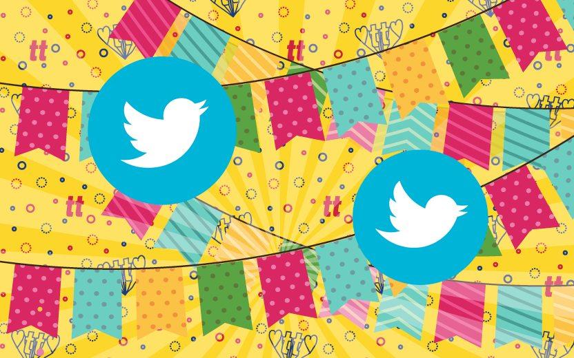 Bandeirinhas de festa junina com o símbolo do twitter