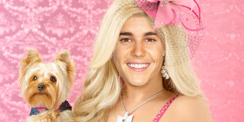 Justin Bieber como sharpay evans de high school musical