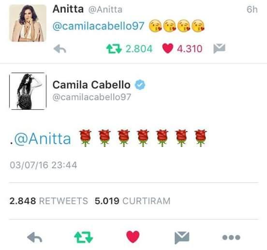 Camila Cabello segue Anitta no twitter
