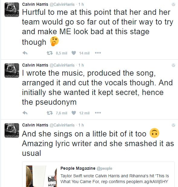 Calvin Harris manda indireta para Taylor Swift no twitter