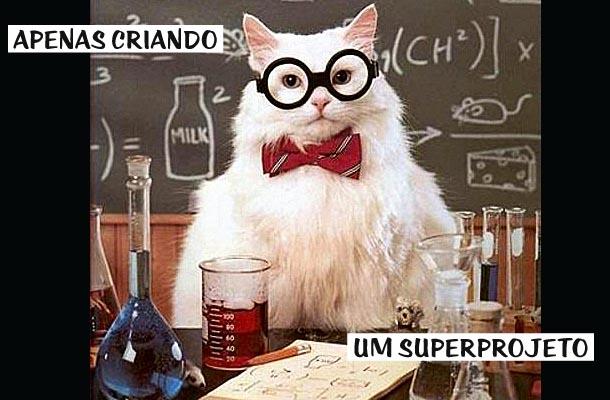 gato fantasiado de cientista