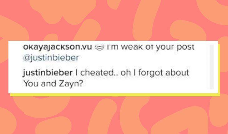 comentário de Justin Bieber sobre Selena Gomez e Zayn