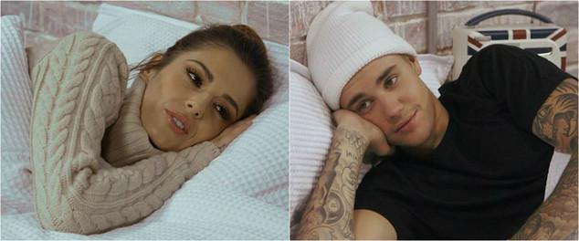 Cheryl e Justin Bieber na pródia do clipe de kanye west