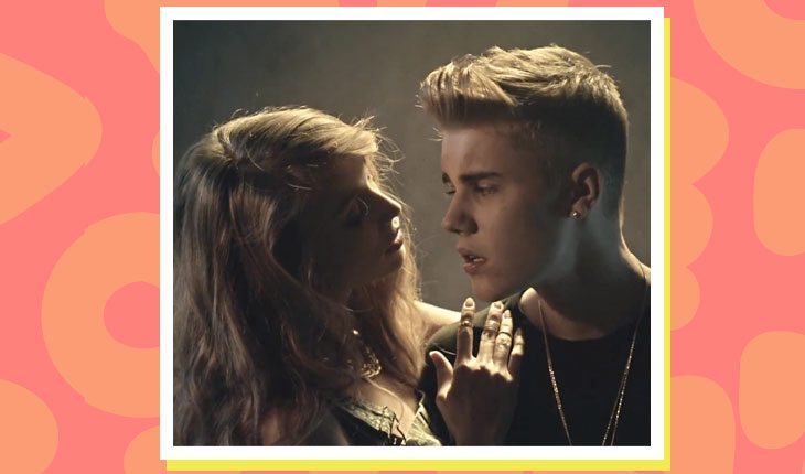 Justin Bieber com modelo do clipe