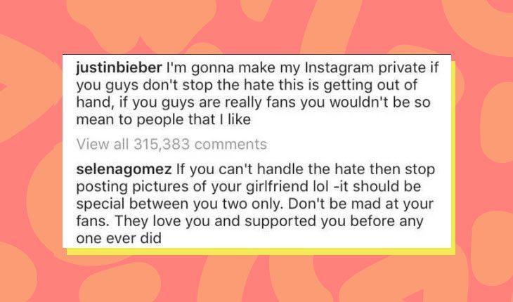 Print do comentário de Selena Gomez no post de Justin Bieber