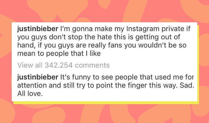 Print de resposta de Justin Bieber ao comentário de Selena Gomez