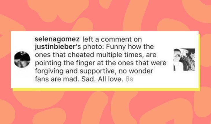 Print de comentário de Selena Gomez para Justin Bieber