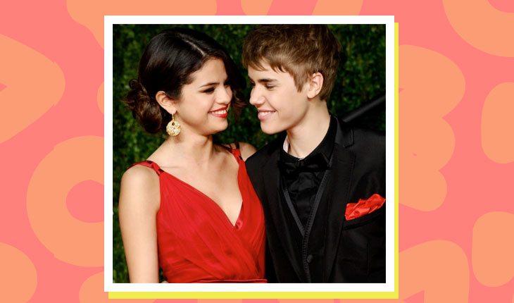 Selena Gomez e Justin Bieber sorrindo