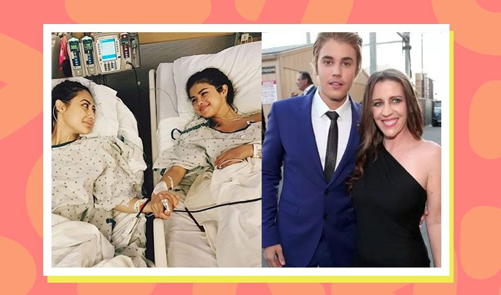 Montagem de foto de selena gomez com amiga em camas de hospital e foto de justin bieber com sua mãe