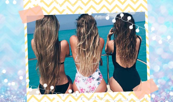amigas de costas na praia