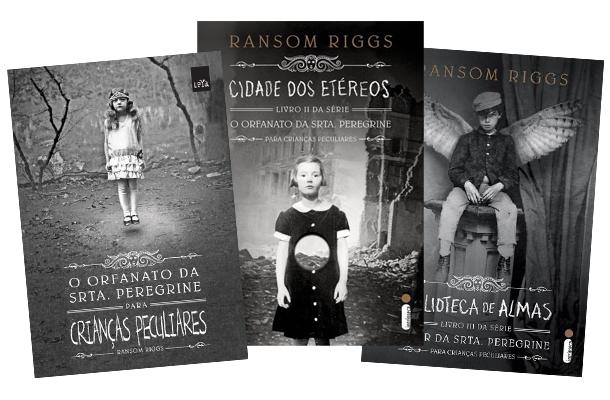 Três capas de livro da saga O Orfanato da Srta. Peregrine