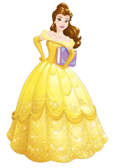 Desenho da princesa Bela com vestido longo amarelo