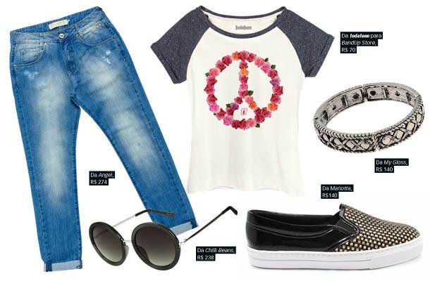 Look de passeio com calça jeans e t-shirt