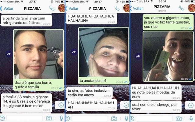 garoto pedindo pizza pelo whatsapp