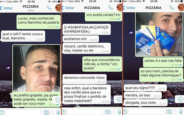 garoto faz pedido de pizza pelo whatsapp