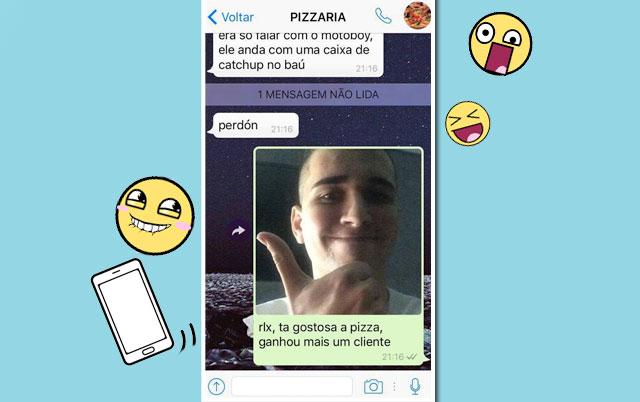 garoto pede pizza pelo whatsapp