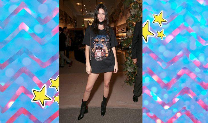Kendall Jenner usando camiseta