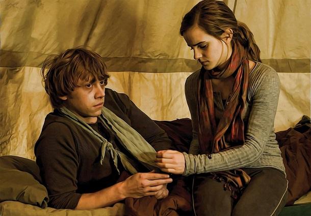 Hermione olhando para Rony