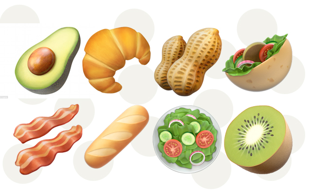 emojis novo da apple de comida
