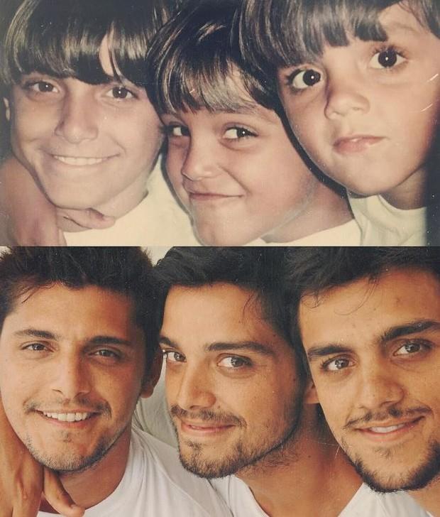 """Rodrigo Simas posta foto de """"antes e depois"""" com os irmãos no Instagram"""