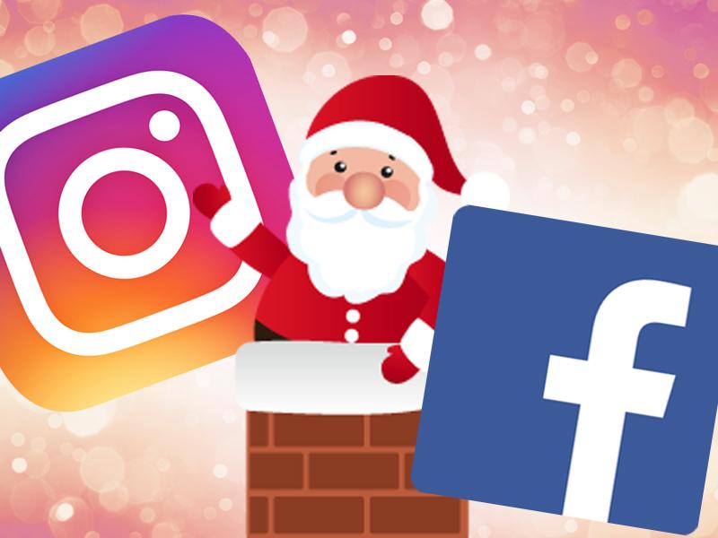 Logo do Facebook e do Instagram com um Papai Noel no meio