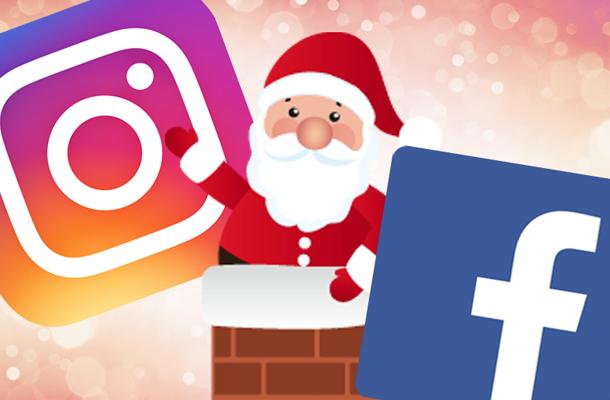 Logo do Facebook e do Instagram com um Papai Noel