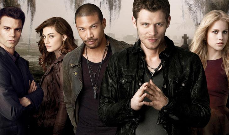 Personagens de The Originals, em fundo cinza