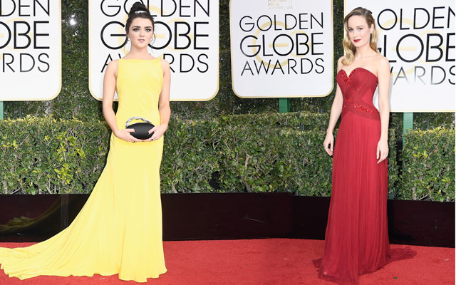 brie larson e Maisie Williams no globo de ouro 2017
