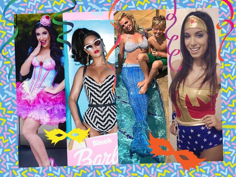 Montagem com famosas fantasiadas: Bianca Andrade, Beyoncé, Britney Spears e Anitta