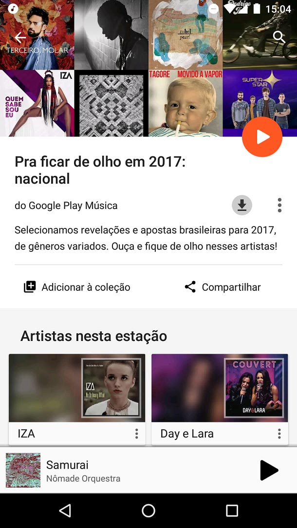 Interface do aplicativo Google Play Música
