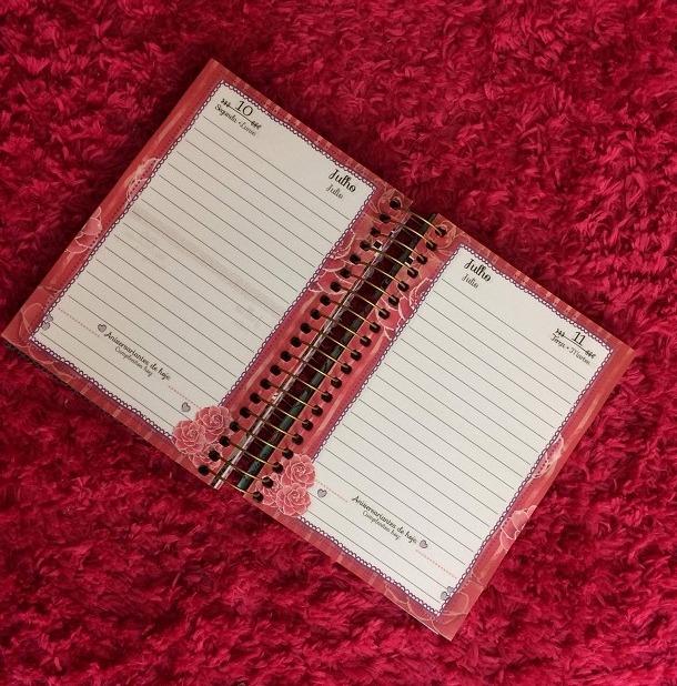 Agenda da todateen aberta com páginas em branco e rosa