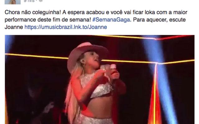 Lady Gaga faz postagem Simone e Simaria