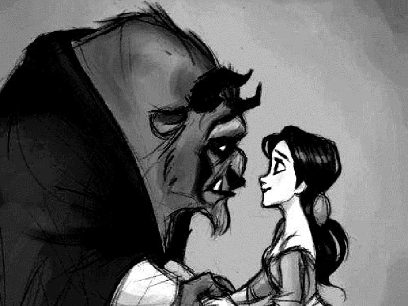 A Bela e a Fera se olhando apaixonados
