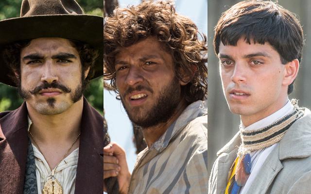 uma imagem com uma montagem das fotos de Caio Castro, Chay Suede e Rodrigo Simas