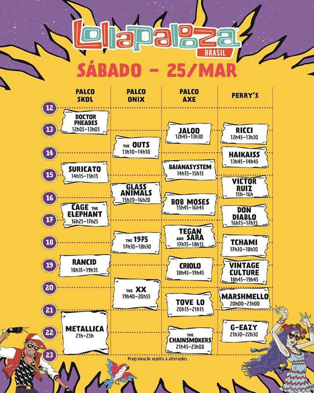 Horário dos shows Lollapalooza