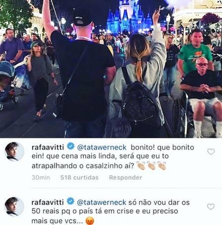 Rafa Vitti zoando Tatá Werneck no Instagram