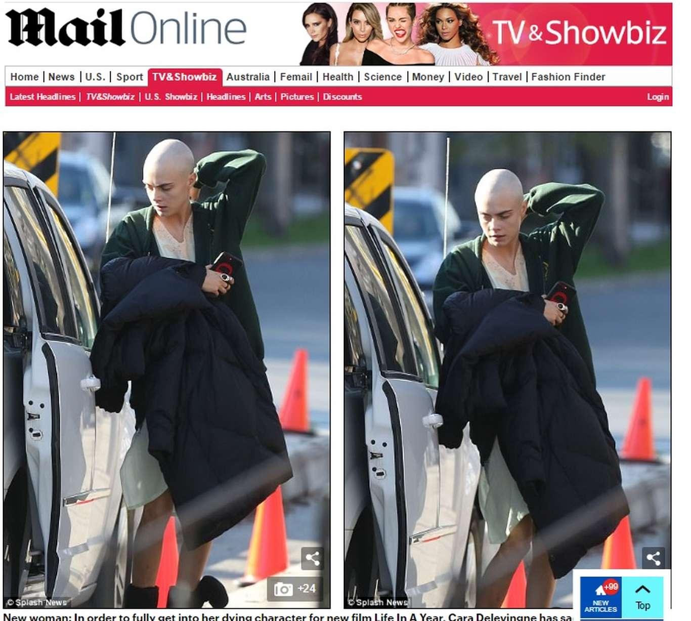Primeira página do jornal Daily Mail Online, onde mostra a atriz Cara Delevingne careca, flagrada próxima a seu carro