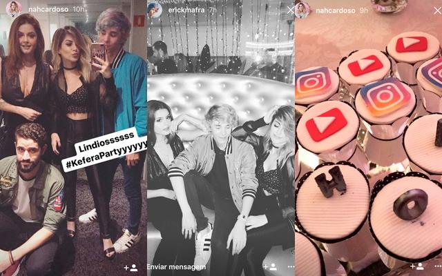 Toutubers aparecem em foto curtindo festa da Kéfera. Bolinhos decorados com ícones de redes sociais como instagram e youtube
