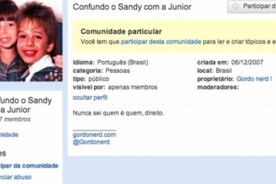 """comunidade de orkut sobre sandy e júnior com o nome: """"nunca sei quem é o sandy e quem é a júnior"""""""