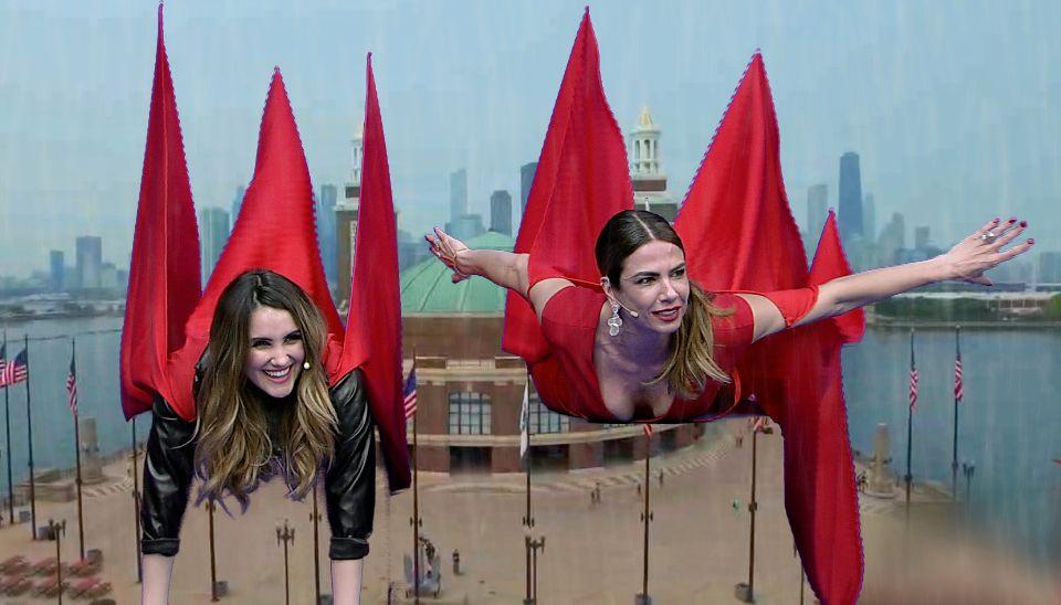 Dulce Maria e Luciana Gimenez simulam vôo