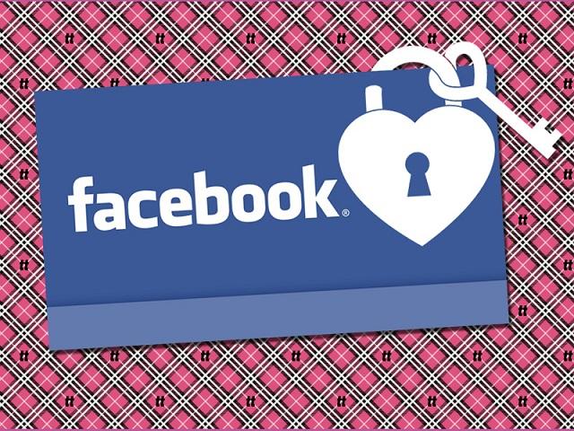 Montagem como a logomarca do Facebook e um cadeado