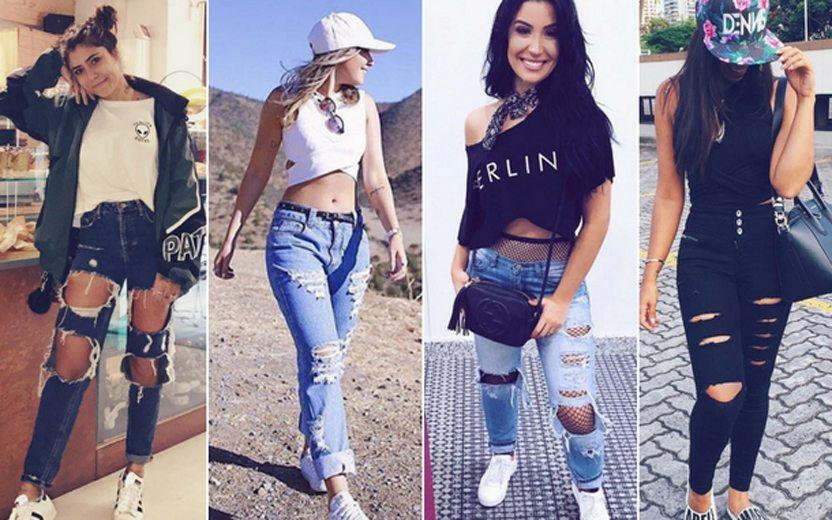 49f32e986 Jeans destroyed  20 looks com o item fashion para se inspirar!