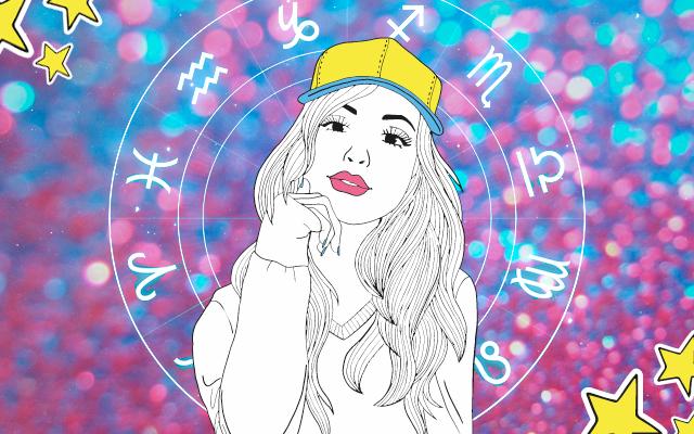 uma imagem com um roda dos signos atrás de uma ilustração de uma menina de boné