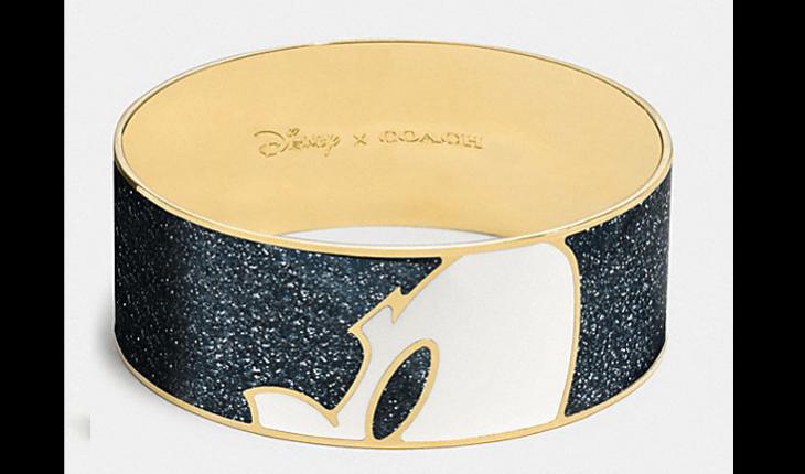 bracelete preto e dourado com olhos do mickey mouse desenhados