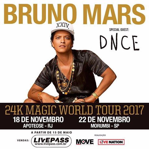 Bruno Mars em cartaz da 24K Magic World Tour 2017