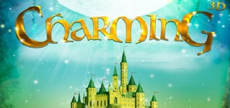 Logo da animação Charming, em verde e amarelo, com um castelo de princesa ao fundo