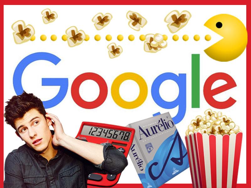 Logotipo do google com montagens de Shawn Mendes, pipoca, etc.
