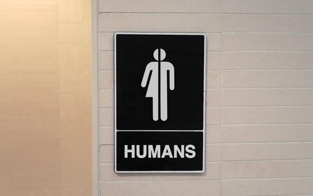 """Transgêneros: placa de banheiro que use a representação feminina com a masculina, dizendo """"banheiros para humanos"""""""