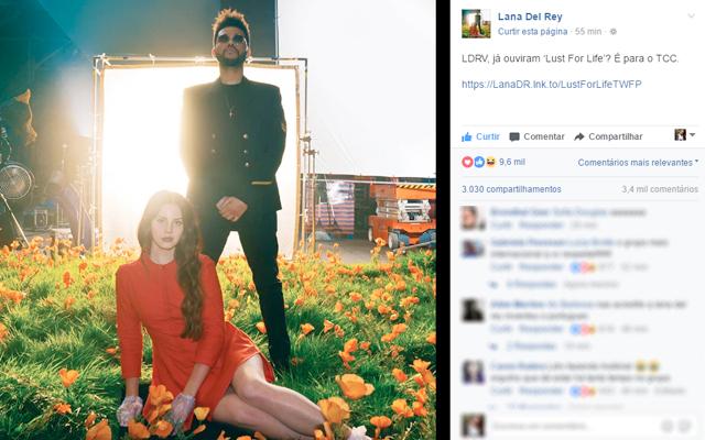 Print da postagem da Lana Del Rey no facebook onde divulga música nova com o The Weekend e menciona o grupo brasileiro LDRV