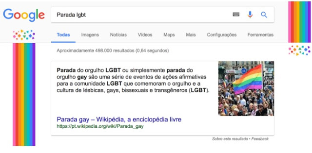 print da busca do google temática sobre orgulho LGBT